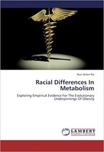 "Portada del libro del dr Nun Amen-Ra ""Racial differences in metabolism"""