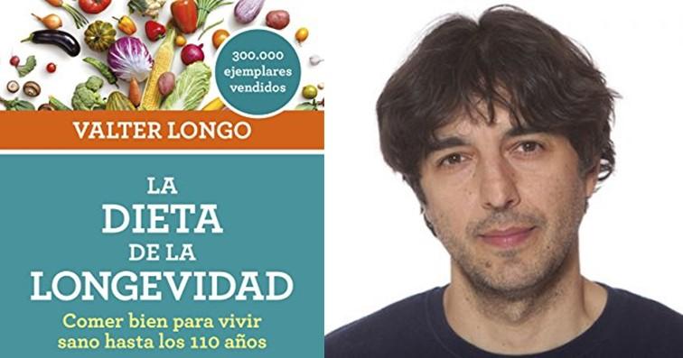 """Fotografía de Valter Longo y de la portada del libro """"La dieta de la longevidad"""""""