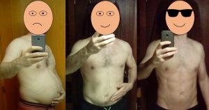 Resultados ayuno intermitente y ejercicio, fotos de antes y después.